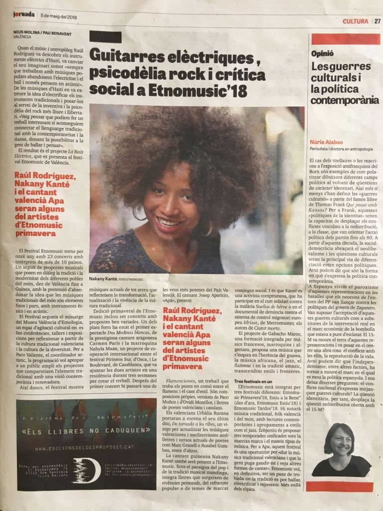 Article Festival Etnomusic 2018. Pau Benavent, Neus Molina. Diari Jornada. 5.5.2018